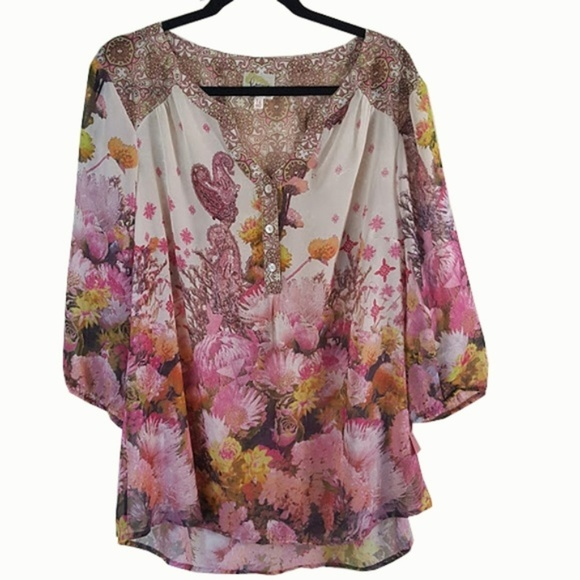 0bf1ab88881732 Fig and Flower Tops | Anthropologie Floral Sheer | Poshmark